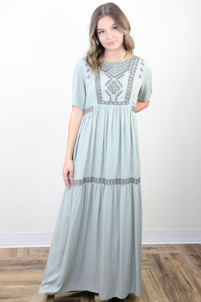 Sienna Embroidered Tiered Maxi Dress