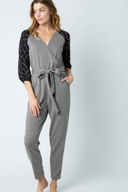 Kourtnee Knit Jumpsuit w/ Contrast Sleeves