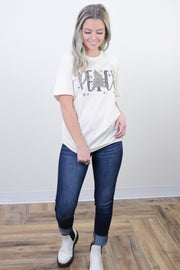 Peace Leopard Print Graphic Tee