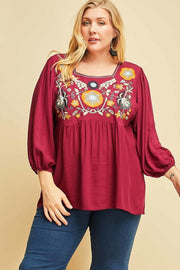 Carmen Embroidered Plus Top