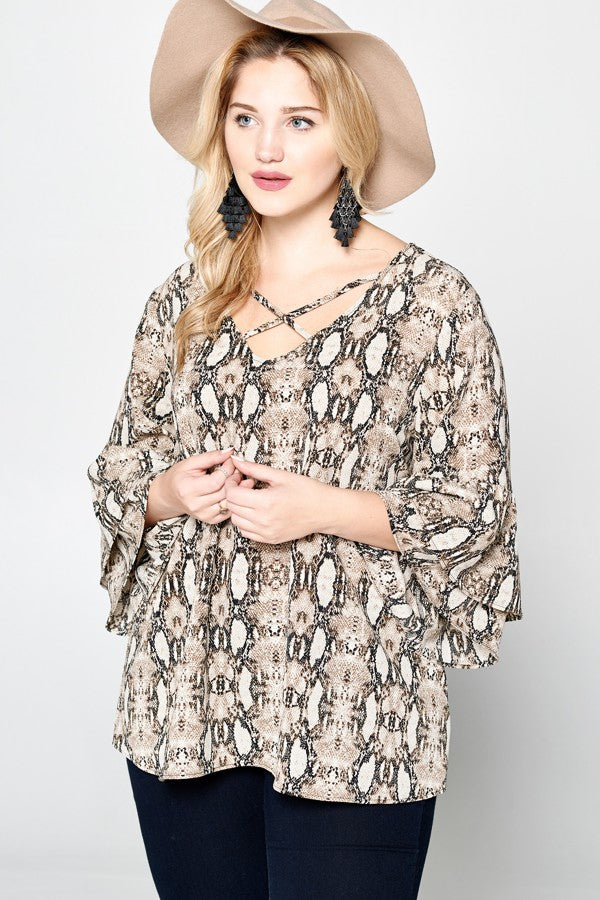 Gail Snakeskin Caged Neckline Top