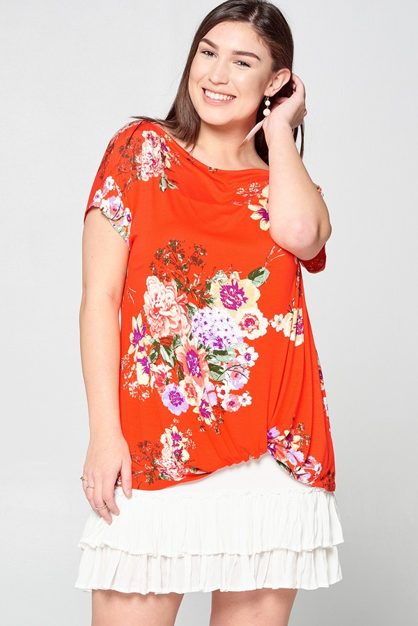 Tenille Floral Twist Front Top - PLUS
