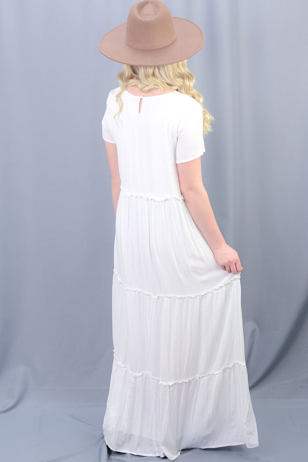 Taylor Ruffle Tiered Maxi Dress in White