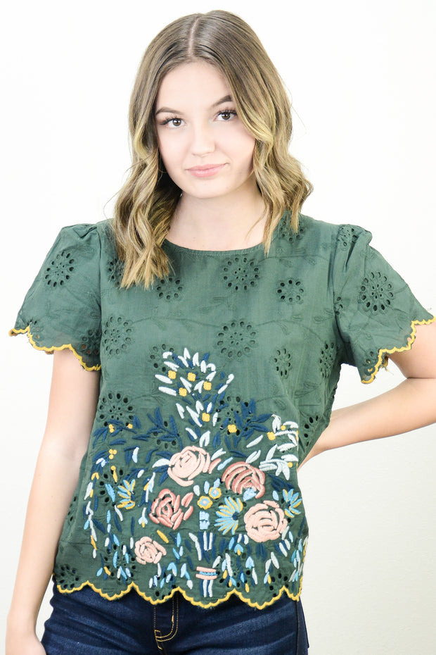 Wisteria Embroidered Lace Top in Evergreen