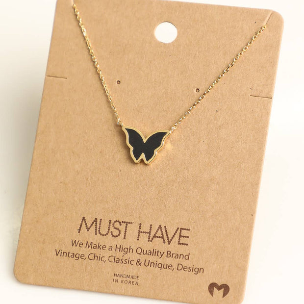 Butterfly Enamel Necklace - 2 Colors