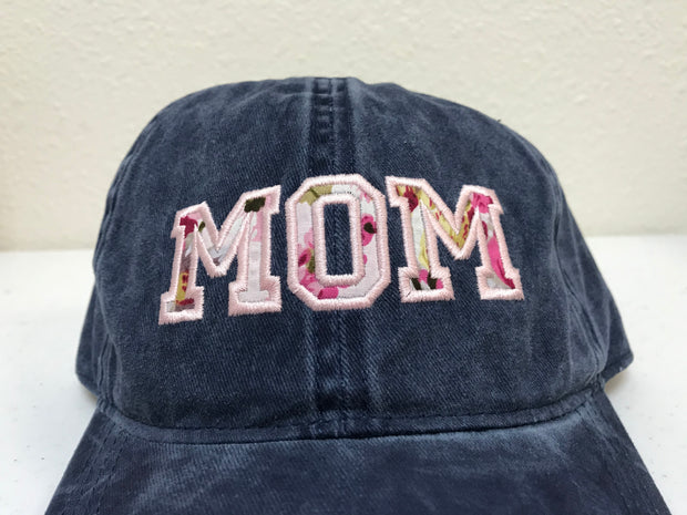 MOM Varsity Floral Embroidered Baseball Cap