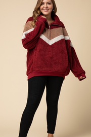 Mya Fleece Half Zip Jacket in Burgundy - Plus