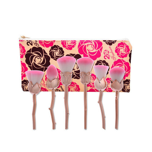 6 Pcs Rose Makeup Brushes With Case
