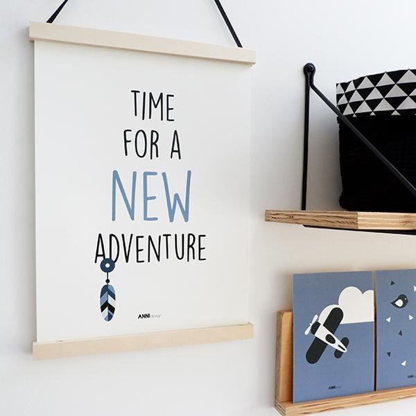 Poster Indiaan New Adventure Jeans Blauw - Let Us Be