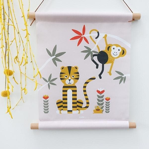 Textielposter Jungle Oud Roze - Let us be