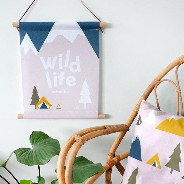 Textielposter Wild Life Oud Roze - Let Us Be