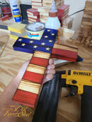 Old Glory Wooden Cross