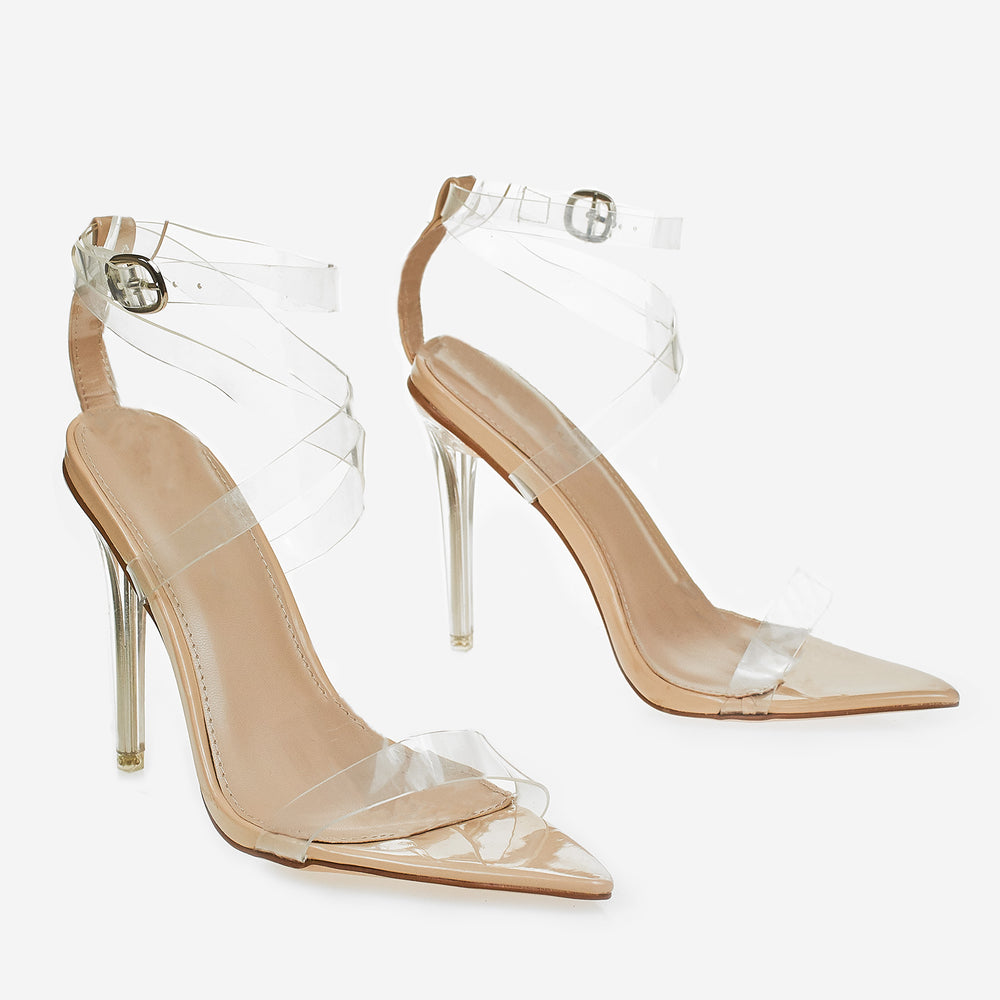 a13fa413c3f Barely There Perspex Pointed Toe Heel In Nude