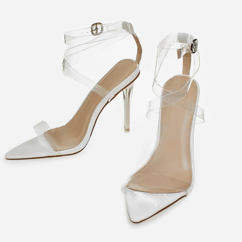681e2d14f55 Barely There Perspex Pointed Toe Heel In Nude | Struttt