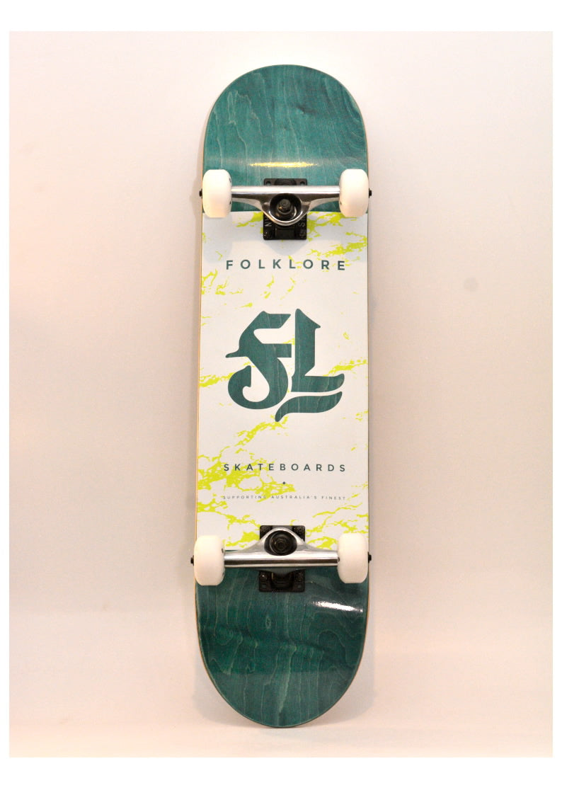 Folklore Complete Skateboard 8.0 White/ Green - Spider Web Grip