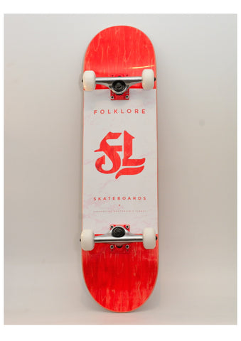 Folklore Complete Skateboard 8.25 Red/White - Red & Black Checkers Grip