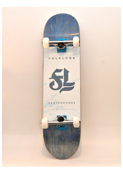 Folklore Complete Skateboard 8.0 - Custom Blue 2 tone Grip