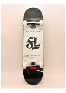 Folklore Complete Skateboard 8.0 White/Grey- Black Grip