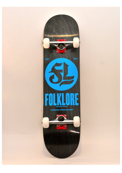 Folklore Complete Skateboard 8.0 Blue Logo -  Custom Black/ Black & Red Checkers Grip