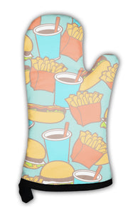 Oven Mitt, Fast Food Pattern In Retro Style
