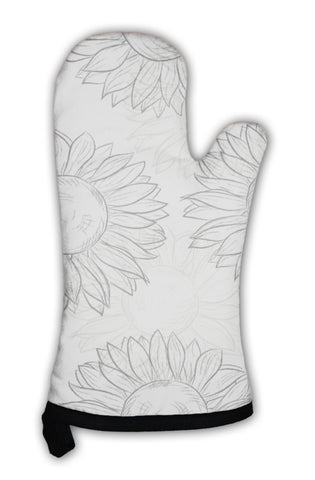 Oven Mitt, Cute Pattern With Sunflowers Abstract Gray Black And White