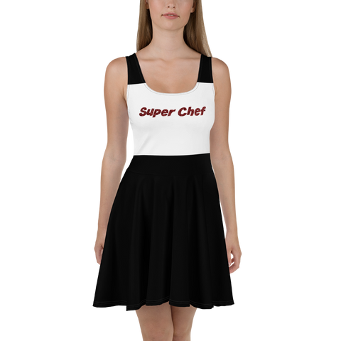 Super Chef-Black And White-Skater Dress