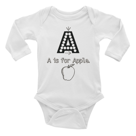 A Is For Apple-Infant Long Sleeve Bodysuit
