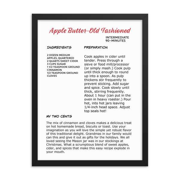 Apple Butter Recipe-Framed poster