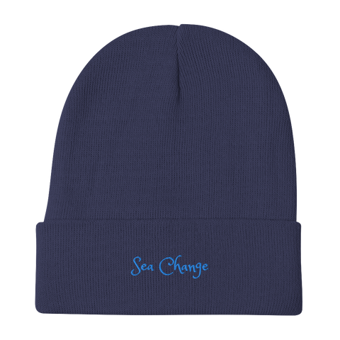 Sea Change-Embroidered Beanie