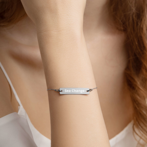 Sea Change-Engraved Silver Bar Chain Bracelet