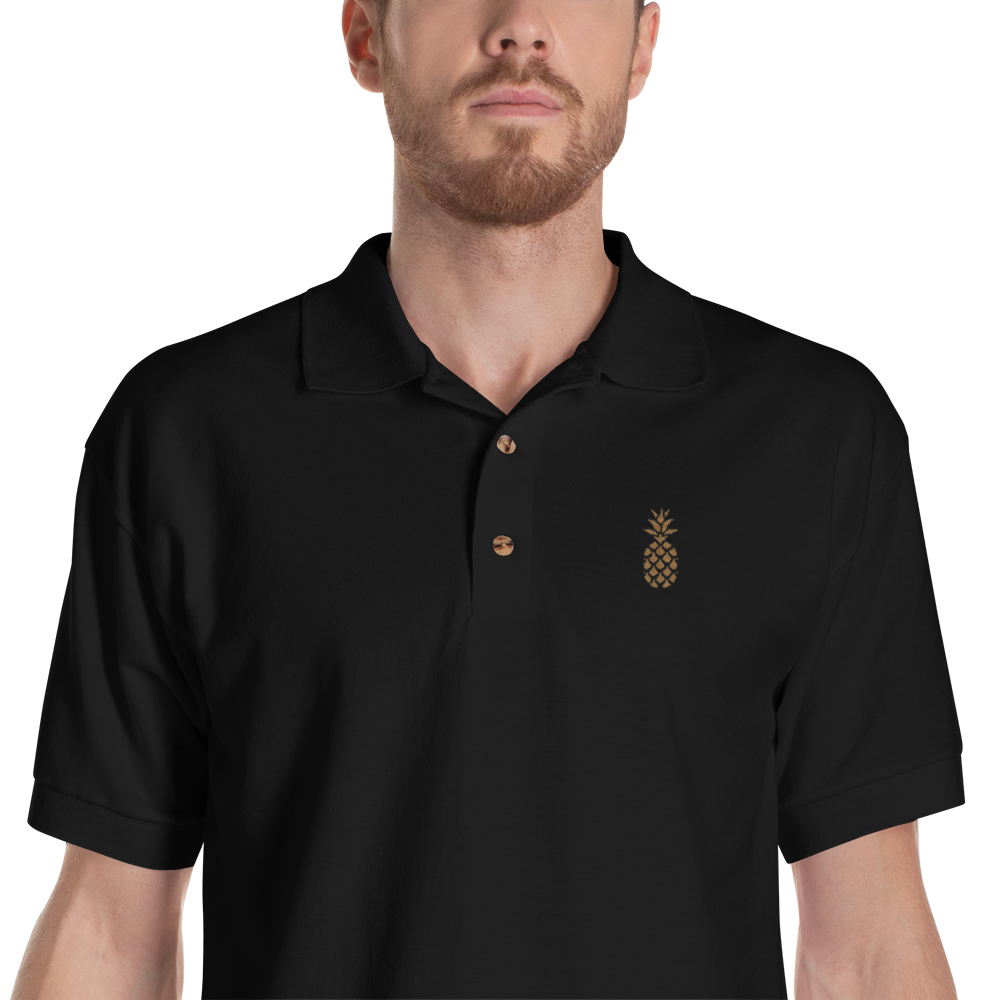 Embroidered Polo Shirt Pineapple For Men Karozo Sia Briezu Iela