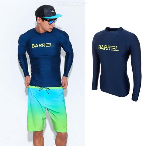 Mens Long Sleeve Rashguard UV Sun Protection Quick-dry Swim Suit