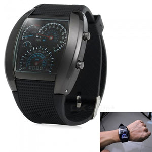 KICCY Blue LED Car Watch w/ Arch Dial + Silicon Watch Band - Black
