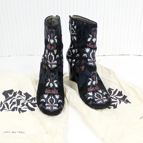 Isabel Marant $1480 Black Suede Guya Embroidered Ankle Boots 37
