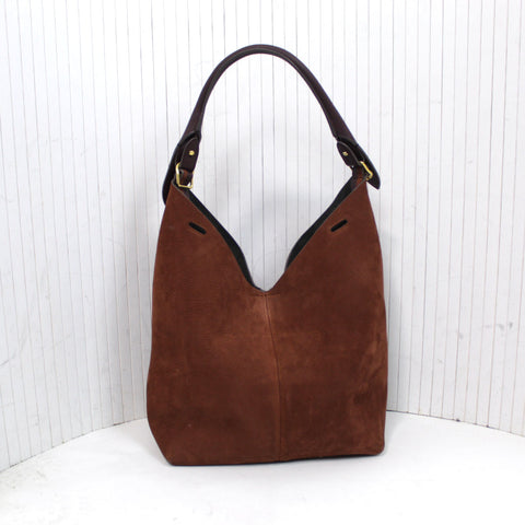 Anya Hindmarch_Brand New Plum Leather & Chestnut Nubuck Hobo Bag