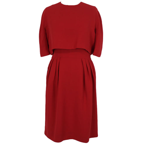 Christian Dior_Scarlet Wool Crepe Two Layer Midi Dress_F40
