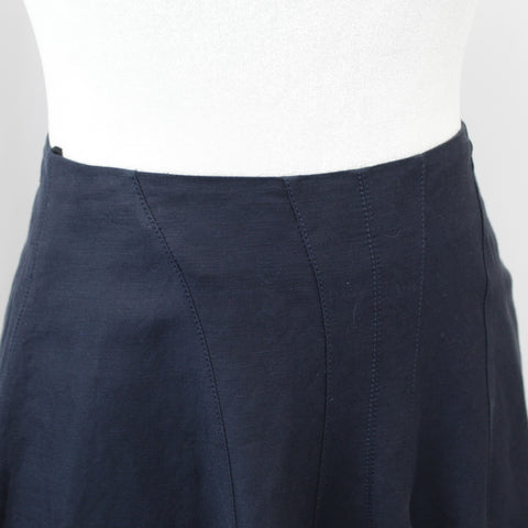 Celine_Brand New Phoebe Philo Navy Linen Mix Flared Dip Hem Skirt_F34
