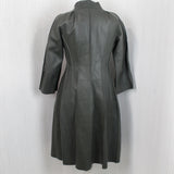 Marni Olive Unlined Calf Leather Fitted Coat I38(XS)