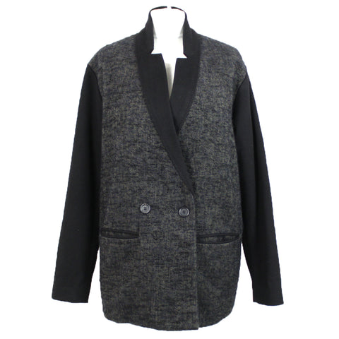 Forte Forte_Black & Grey Herringbone Double Breasted Jacket S