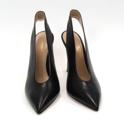 Gianvito Rossi_Brand New £948 Black Leather Delta Slingback Heels_37.5