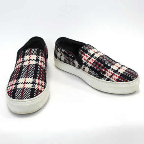 Celine_£450 Black & Red Check Canvas Sneakers_38.5