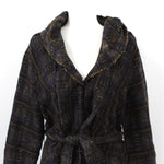 Marni Navy & Brown Check Wool & Silk Tweed Belted Coat I40