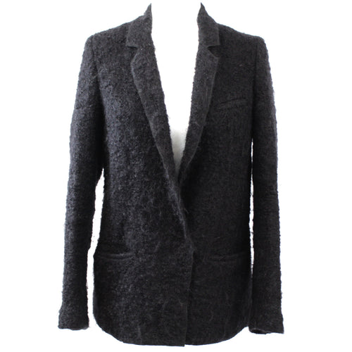 Forte Forte_Black Fluffy Boucle Wool Mix Jacket_Sz1