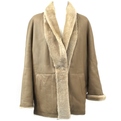 Sprung Frères_ £2000 Putty Lambskin Reversible Shawl Collar Jacket _M