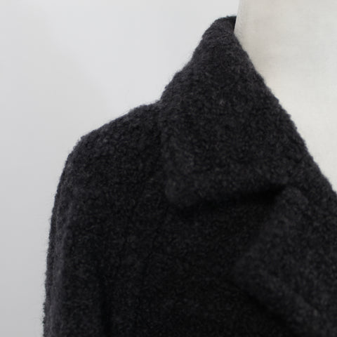 Prada Black Cashgora Big Button Coat with Mink Collar I38