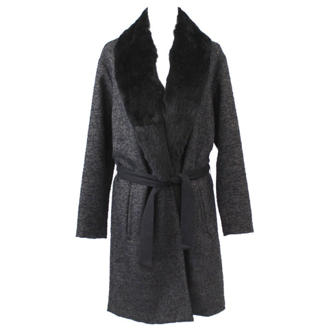 Forte Forte_ Black & Grey Herringbone Wool Mix Coat with Fur Collar_Sz1