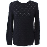 APC_Navy Fancy Knit Merino Wool Button Back Sweater_S