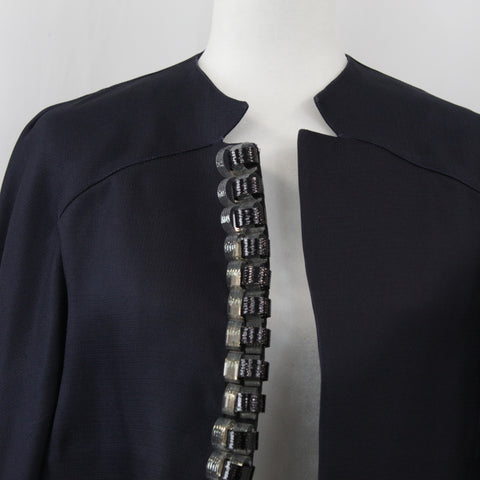Marni_Black Silk Weave Jacket with Vinyl Curly Trim _I42