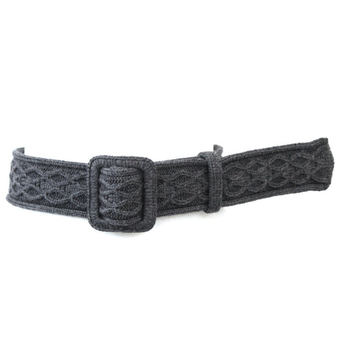 Yves Saint Laurent_Grey Wool Knit Wide Belt_85/34