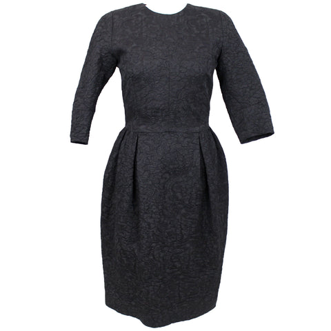Dries Van Noten_Black Wool & Silk Jacquard Dress_B38 (M)